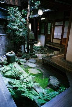 Japanese Home and Garden dunno how to incorporate this but...this is like my FAVORITE looking shit. Moss, stone, wood, bamboo, etc