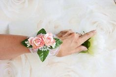 Pink rose White peony corsage, prom corsage, wedding corsage, mother of the bride corsage.  Click through to my shop