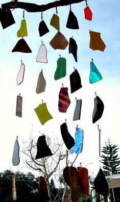 lovely wind chimes to use up stained glass scraps