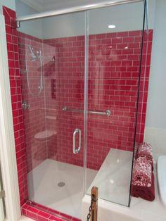 #barenzbuilders Red Subway Tile Shower