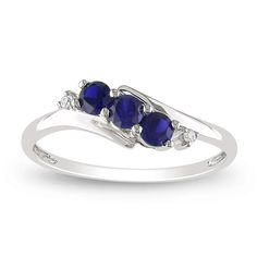 Miadora 10k White Gold Created Sapphire and Diamond Ring | Overstock.com. I want!