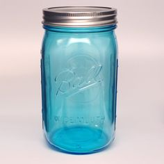 Ball Collection Elite Wide Mouth Quart 32 oz. Blue Glass Mason Jars with lids and bands, 4 count