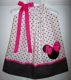 Minnie Mouse Pillowcase Dress Hot Pink Black Dots by molliepops, $27.00