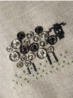 """""""Snappy"""" little sheep embroidery – Recycled Crafts"""