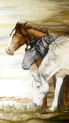 Horse friends in the wind painting. Horse art.