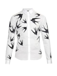 Swallow-print stretch-cotton shirt   McQ Alexander Mcqueen   MATCHESFASHION.COM US