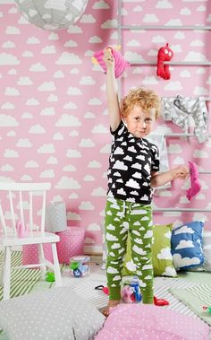 Moln Cloud clothing designed by Gunila Axen Pink Clouds Wallpaper, Baby Design, Kids Fashion, Nursery, Kids Rugs, Contemporary, Create, House 2, Home Decor