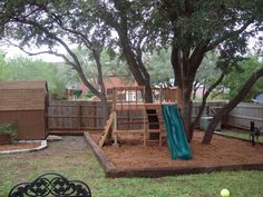 fun kids backyard redo, from zero landscaping...to homemade playset!!!, Thanks to grandparents, we have a specially made playset under shady trees. Mulch @ the bottom solved problem of inaility to grow grass!!!  , Yards Design