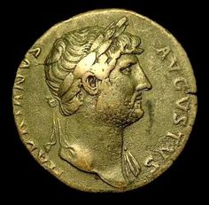 The Emperor Hadrian, depicted on a Roman coin.