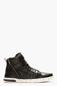 CONVERSE BY JOHN VARVATOS Black Leather Hidden Hardware Weapon High-top Sneakers