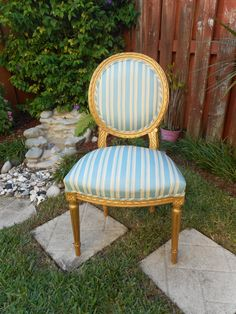 SOLD ~ Vintage Shabby Chic Oval Back Bergere Side Vanity Powder Room Chair ~ Solid Wood Frame w/Gold Paint and Vintage Blue & White Fabric by RenewRedoFurnishings on Etsy