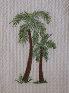 Embroidered Palm Trees.