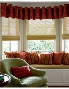 Natural Woven Flat Fold Shades with Euro Fabric Valances #Valance #Red #Windows