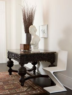 Ebonized furniture has its origins in ancient Egypt. In fact, carved pieces of ebony depicting the lives of pharaohs have been found in ancient Egyptian tombs. But ebonized furniture didn't become popular until the 16th century, when Belgian craftsmen began using the dense wood to make detailed panels and moldings.