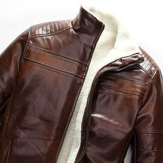 SZYYSD Men's Winter Warm Sheep Skin Genuine Leather Coat Jacket Lamb Wool Lined (UK X-Small / Tag M, Brown)