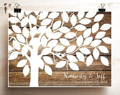 Wedding tree guest book alternative Woodgrain look wedding tree poster with lovebirds on branches - Wedding guestbooks (*Amazon Partner-Link)