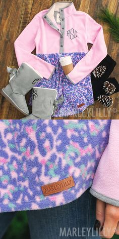 Stay warm and cozy in this preppy leopard pullover! Featuring pink, purple leopard, and suede detailing, this button up, personalized pullover tunic has a cozy sherpa collar. This pullover is tunic length and pairs perfectly with a pair of leggings and monogrammed duck boots!