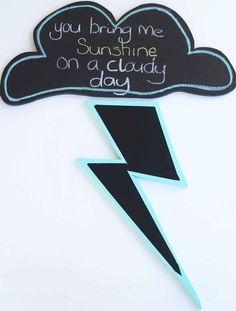 DIY blackboard cloud and lightening bolt
