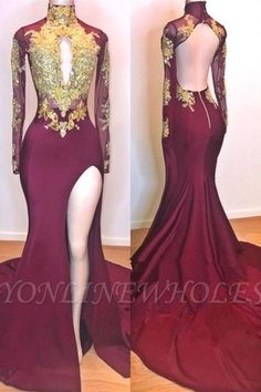 6281e56b2e9e Burgundy Gold Appliques Evening Gowns   Long Sleeves Side Slit Open Back  Mermaid Prom Dresses   www.babyonlinewholesale.com