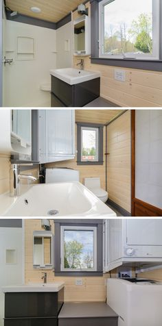 This tiny house bathroom is large enough for a stacked washer/dryer, 34″ x 42″ custom shower, and a large window for natural light.