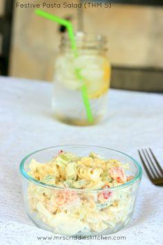 Festive Pasta Salad (THM S) with a greek yogurt dressing option!