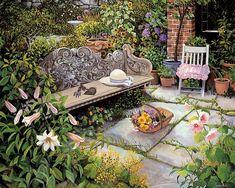 Romantic Garden Cottage -  Susan Rios Heartwarming Paintings  - The Gardener -  Susan Rios Paintings  of Beautiful Floral Garden  6