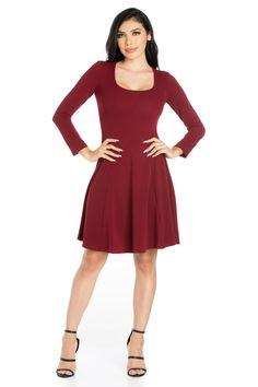 f8c7da6095e74 24seven Comfort Apparel Long Sleeve Knee Length Fit And Flare Skater Dress