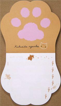 cute Kutusita Nyanko cat paw Memo Pad die-cut