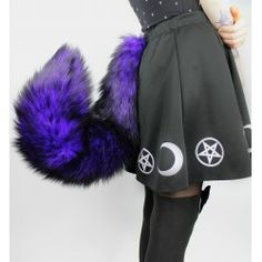 "30"" Purple & Black Fox Tail"