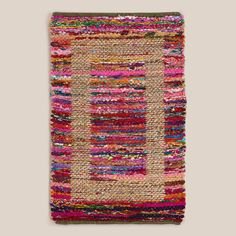 2'x3' Jute Bordered Recycled Cotton Rug   World Market