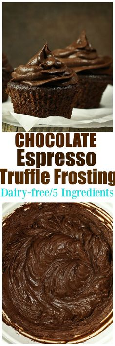 Vegan Chocolate Espresso Truffle Frosting. JUST 5 ingredients is all you need for this amazing rich chocolate espresso truffle frosting for all your cupcakes cakes brownies donuts or cookie NEEDS! Dairy-free and no added oil!