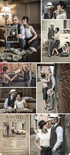 Colleen and Stephen told Jeff & Jewels Photography they wanted to do an engagement session themed after the 40's, kinda Bonnie and Clyde style.