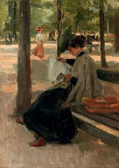 Reading in the Bois de Boulogne, Paris by Isaac Israels