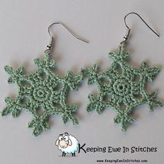 Lichen #green #Snowflake #earrings #justSoPretty #KeepingEweInStitches
