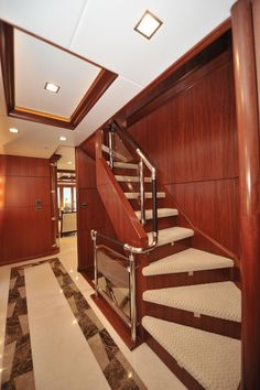 Nordhavn 120-Main Deck Foyer-Custom Yacht Interior Design-Destry Darr Designs