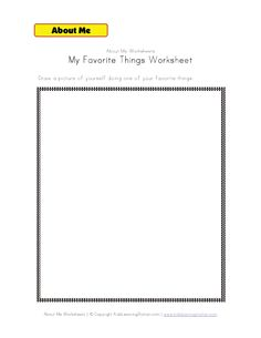 my favorite things worksheet about me worksheets pinterest worksheets september preschool. Black Bedroom Furniture Sets. Home Design Ideas