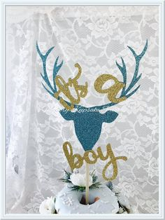 Its A Boy Cake Topper - Its A Boy Party Decorations - Its A Boy Deer Cake Topper - Its A Boy Wildlife Cake Topper - Its A Boy Baby Shower