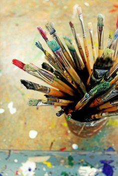 Well-used art brushes..