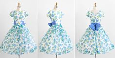 Vintage 1950s dress / 50s dress / Blue and White by RococoVintage, $186.00