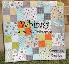 PDF Quilt Pattern Whimsy Layer Cake Baby Quilt and Throw Simple Fast via Etsy
