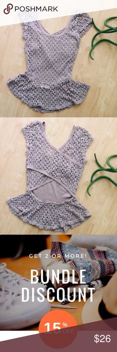 """Poetry Lace Cut-Out Blouse Lined, lacy cut-out peplum hem blouse. Approximately 26"""" bust, 23"""" long.  (B28) Poetry Tops Blouses"""