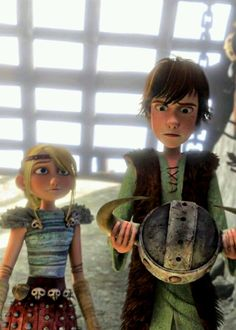 Astrid says one last goodbye to Hiccup before he goes into the Kill Ring to risk his life, fighting a Monstrous Nightmare dragon for his final exam.  :(