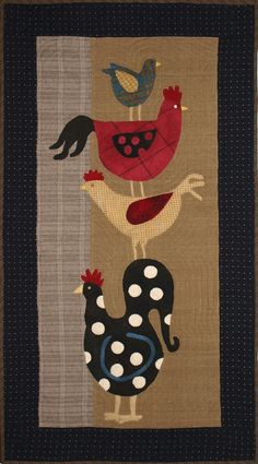 still want a chicken quilt Wool Applique Patterns, Felt Applique, Applique Quilts, Quilt Patterns, Wool Quilts, Barn Quilts, House Quilts, Penny Rugs, Diy Quilt