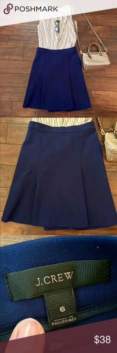 Timeless J.Crew Skirt Classy and beautiful skirt that you could pair with so many different outfits! Rich navy blue color. Excellent condition, and a high quality material that feels like it will last through many seasons. Feel free to ask my any questions :) J. Crew Skirts Midi