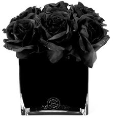 Herve Gambs Black Rose & Large Black Glass Cube (6.760 UYU) ❤ liked on Polyvore featuring home, home decor, floral decor, flowers, fillers, black, plants, backgrounds, fake flowers and black fake flowers