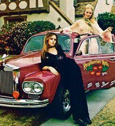 "Patty+Clark+&+Karen+Umphrey,+posing+with+the+""Raspberries+Rolls-wagon,""+in+Star+Magazine,+1973"