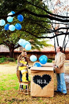 Outrageous balloon launch gender reveal surprise idea | Mallory Buck photography