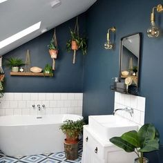 Have you ever been seduced by the name of a paint colour? I (Good Living Scotland) recently found myself standing at a Valspar Paint UK counter perusing the deep, dark blues (my plan is to paint my ba Family Bathroom, Budget Bathroom, Bathroom Interior, Modern Bathroom, Small Bathroom, Master Bathroom, Bathroom Ideas, Bathroom Designs, Beautiful Bathrooms