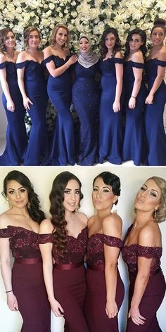 Charming White Long Cap Sleeve Lace Mermaid Sexy Long Bridesmaid Dresses The long prom dresses are fully lined, 4 bones in the bodice, chest pad in the bust, l Dark Blue Bridesmaid Dresses, Navy Blue Bridesmaids, Mermaid Bridesmaid Dresses, Dresses Dresses, Perfect Wedding Dress, Dream Wedding, Wedding Party Dresses, Marie, Lace Mermaid