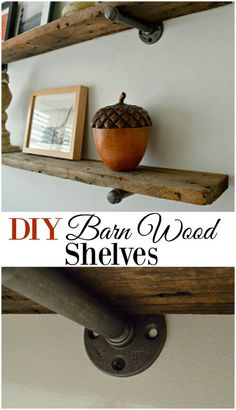 DIY Barn Wood Shelves Rustic barn wood shelves for any room in your house. A cheap and easy DIY project that would look great with industrial and farmhouse decor. - DIY barnwood shelves, with an industrial feel, for a guest bedroom - CHATFIELD COURT Diy Simple, Barn Wood Projects, Barn Wood Crafts, Diy Tumblr, Diy Casa, My New Room, Easy Diy Projects, Cheap Home Decor, Diy Home Decor Easy